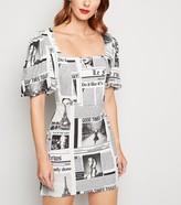 New Look Cameo Rose Newspaper Puff Sleeve Dress