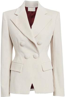 Sara Battaglia Corduroy Double Breasted Blazer