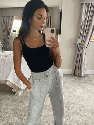 Michelle Keegan Double Strap Ribbed Cami Top - Black