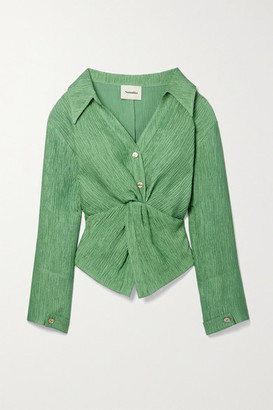 Nanushka Idris Twist-front Metallic Plisse-crepe Shirt