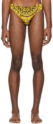 Versace Underwear Black and Yellow Barocco Swim Briefs