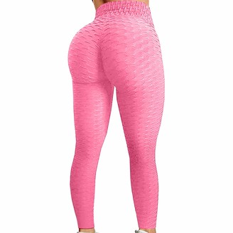ZuzongYr Womens High Waist Yoga Pants Sexy Gym Leggings Honeycomb Anti Cellulite Scrunch Leggings Bubble Hip Lifting Fitness Running Workout Tummy Control Elastic Sports Tights