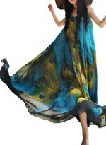 Bess Bridal Women's Printed Bohemian Summer Long Plus Maxi Beach Dresses