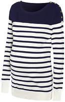 Séraphine Tilly Stripe Knit Maternity Jumper, Navy/White