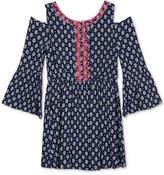 BCX Embroidered-Trim Cold-Shoulder Dress, Big Girls (7-16)
