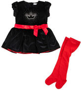 Petit Lem Baby Girls Holiday Two-Piece Dress and Tights Set