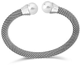 Majorica Simulated Pearl Chain Mesh Flex Cuff Bracelet