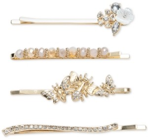 lonna & lilly 4-Pc. Gold-Tone Crystal, Bead & Mother-of-Pearl Flower & Insect Bobby Pin Set