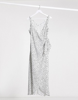 And other stories & polka dot knot detail midi dress in off-white