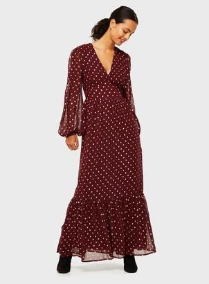 Miss Selfridge Burgundy Spot Print Maxi Dress