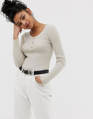 Asos DESIGN scoop neck jumper with buttons