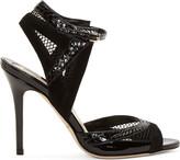 Brian Atwood Black Snakeskin & Mesh Iara Heels