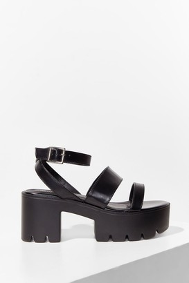 Nasty Gal Womens In the Driving Cleat Strappy Platform Sandals - Black
