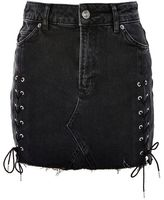 Topshop Moto lace up denim mini skirt