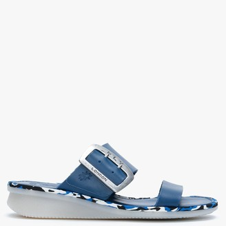 Fly London Cape Blue Leather Flat Mules