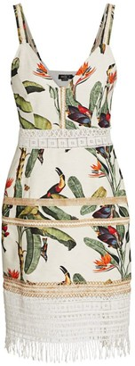 PatBO Tropical Print Lace Trim Mini Dress