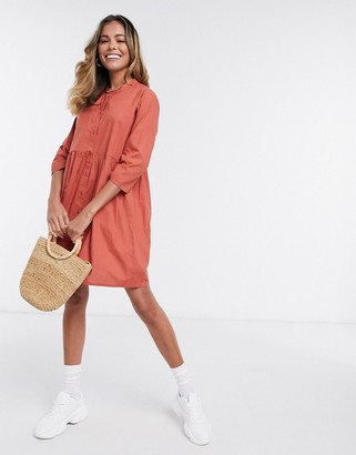 JDY ulle 3/4 sleeve skater shirt dress in red
