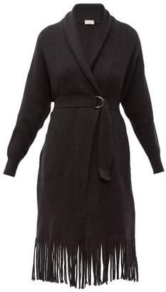 Brunello Cucinelli Long-line Ribbed Cashmere Cardigan - Womens - Dark Grey