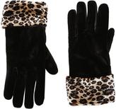 Cejon Black & Leopard Velvet Faux Fur-Cuff Glove