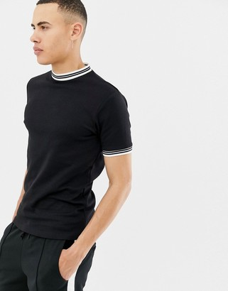 ONLY & SONS twin tipped ringer t-shirt in black