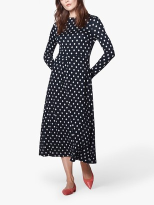 LK Bennett Maria Spot Print Dress, Midnight