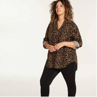 Joe Fresh Women+ Print Button-Tab Shirt, Black (Size 3X)