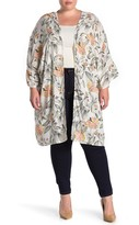 Planet Gold Bell Sleeve Floral Printed Kimono