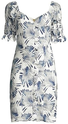 Azulu Feather Print Puff-Sleeve Dress