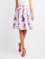 Charlotte Russe Floral Satin Pleated Midi Skirt