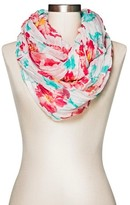 Merona Women's Floral Infinity Scarf Red and Blue