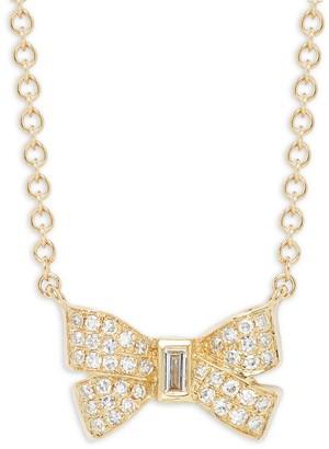 Saks Fifth Avenue 14K Yellow Gold Diamond Bow Pendant Necklace
