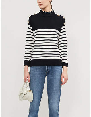 Claudie Pierlot High-neck striped wool jumper