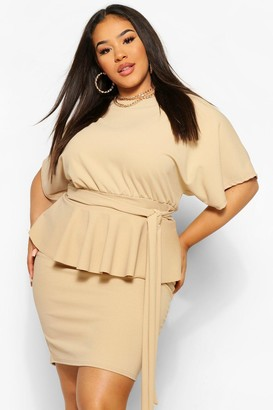 boohoo Plus Tie Waist Peplum Bodycon Dress