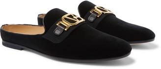 Versace Leather-Trimmed Horsebit Velvet Backless Loafers