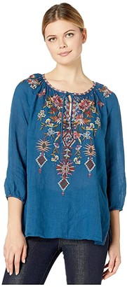 Johnny Was Kirpa Peasant Blouse (Blue Twilight) Women's Clothing