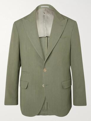 Brunello Cucinelli Sage-green Slim-fit Unstructured Linen-hopsack Blazer - Green