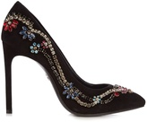Lanvin Crystal-embellished suede pumps