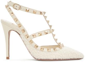 Valentino Off-White Garavani Boucle Rockstud Cage Heels