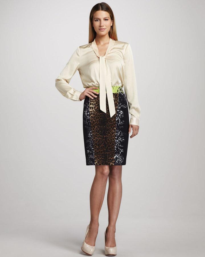 Elie Tahari Reed Leopard-Print Skirt