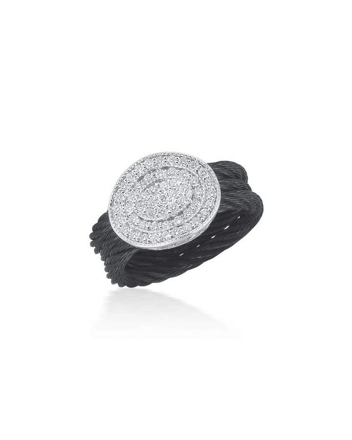 Alor Multi-Row Diamond Pavé Oval Ring, Black, Size 7