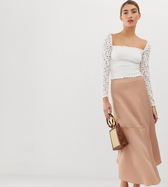 Stradivarius STR satin midi skirt in pink