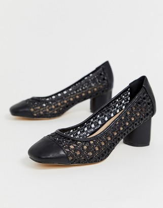 Co Wren woven square toe mid heels-Black