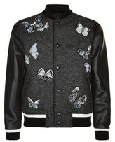 Valentino Embroidered Butterfly Wool And Leather Bomber Jacket