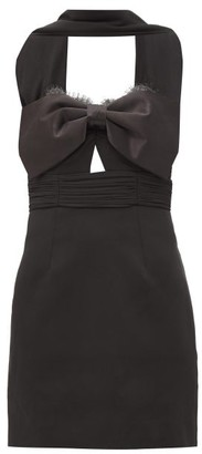 Self-Portrait Scarf-neck Satin-bow Crepe Mini Dress - Black