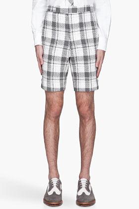 Thom Browne SSENSE Exclusive Grey plaid slub Shorts