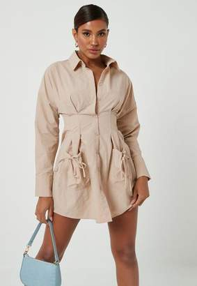 Missguided Nude Pleated Waist Pocket Detail Shirt Dress