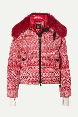 MONCLER GENIUS + 3 Grenoble Faux Shearling-trimmed Wool-blend Tweed Down Jacket - Red