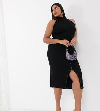 Fashionkilla Plus knitted midi bodycon skirt with buttons co ord in black
