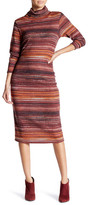 Bobeau Multicolor Striped Ribbed Knit Turtleneck Dress