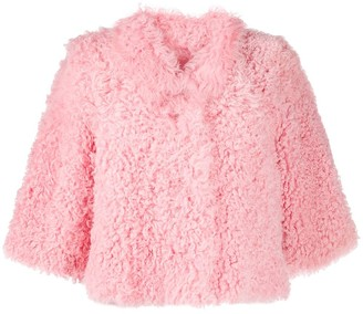 RED Valentino Cropped-Sleeve Sherling Jacket